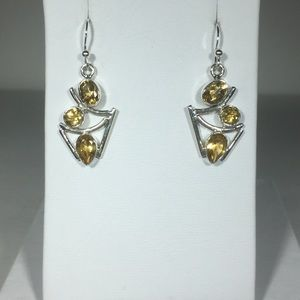 Jewelry - Yellow Citrine 925 Sterling Silver Earrings 1.5""